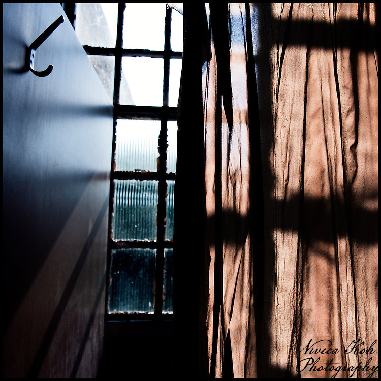 Sunlit window with curtains