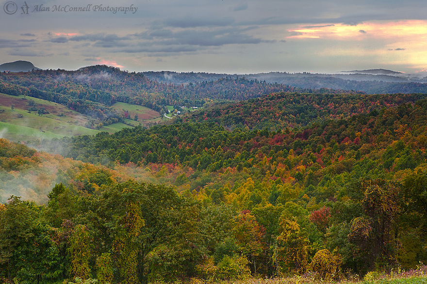 An autumn drive along the Blue Ridge Parkway in the rolling hills of Southern Virgina provides a view of the color change that is just beginning.