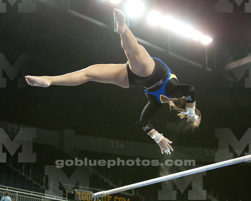 The University of Michigan women's gymnastics team beat No. 20 West Virginia 194.650-194.050 at Crisler Center in Ann Arbor, Mich., on February 3, 2012.
