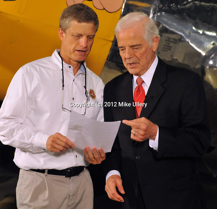 Television personality and spokesman for the National Aviation Hall of Fame, Nick Clooney films promotional video at the National Museum of the United States Air Force for the upcoming induction of the NAHF Class of 2012.