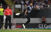 Ish Sodhi bowling.<br /> New Zealand Black Caps v Australia.Tri-Series International Twenty20 cricket. Eden Park, Auckland, New Zealand. Friday 16 February 2018. &copy; Copyright Photo: Andrew Cornaga / www.Photosport.nz