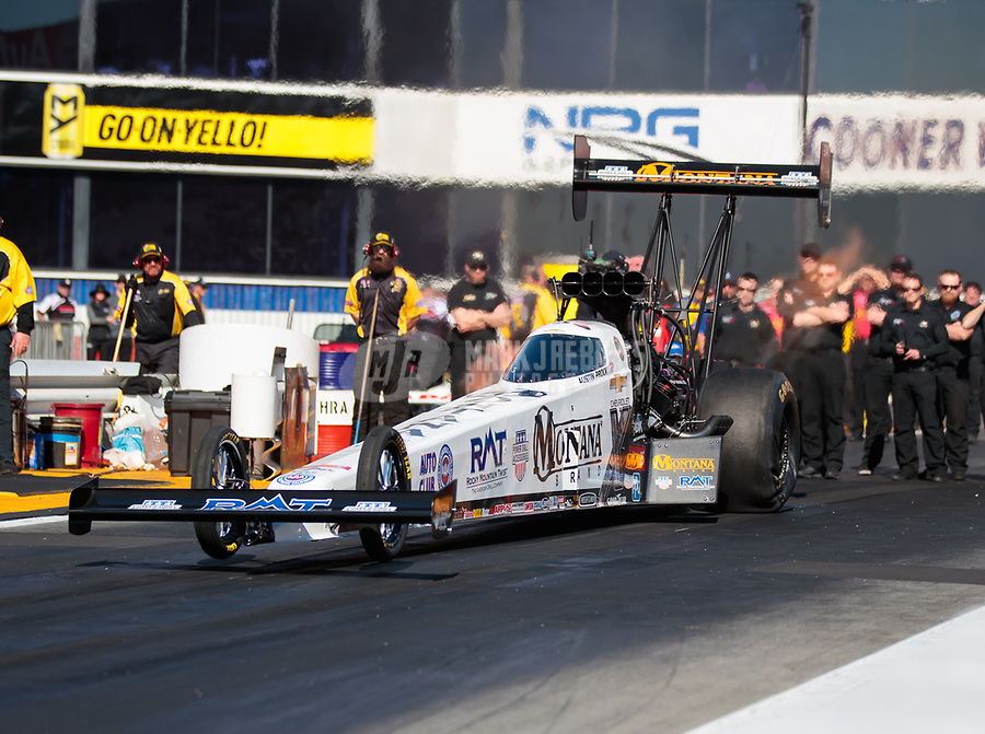 Feb 8, 2019; Pomona, CA, USA; NHRA top fuel driver Austin Prock during qualifying for the Winternationals at Auto Club Raceway at Pomona. Mandatory Credit: Mark J. Rebilas-USA TODAY Sports