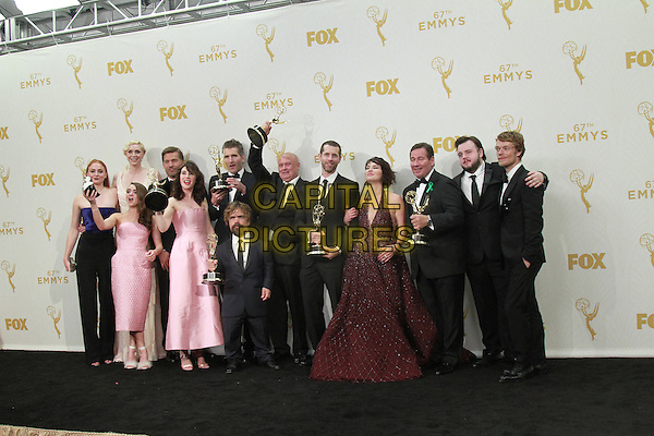 20 September 2015 - Los Angeles, California -  Cast and crew members of the television series 'Game of Thrones' pose . 67th Annual Primetime Emmy Awards Press Room held at Microsoft Theater. <br /> CAP/ADM/THB<br /> &copy;THB/ADM/Capital Pictures