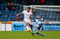 Sam Wood of Wycombe Wanderers tackles Josh Lelan of Crawley Town during the Sky Bet League 2 match between Wycombe Wanderers and Crawley Town at Adams Park, High Wycombe, England on 25 February 2017. Photo by Andy Rowland / PRiME Media Images.