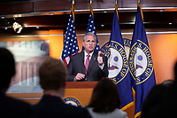 Republican Leader of the United States House of Representatives Kevin McCarthy (Republican of California) delivers remarks during his weekly press conference on Capitol Hill in Washington D.C., U.S., on Thursday, January 9, 2020.  The United States House of Representatives is set to vote on a war powers resolution later today that would mandate United States President Donald J. Trump receive congressional approval for any future military action taken toward Iran, following an airstrike that killed Iranian military leader Qasem Soleimani in Baghdad on January 3, 2020.<br /> <br /> Credit: Stefani Reynolds / CNP/AdMedia