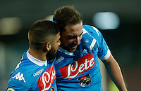 during the  italian serie a soccer match,between SSC Napoli and Sassuolo    at  the San  Paolo   stadium in Naples  Italy , January 17, 2016
