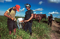 Policia Militar do Pará revista Sem Terras retirado da Fazenda Chão de Estrelas, do senador Jader Barbalho. Aurora do Pará, Pará Brasil .<br /> foto Paulo Santos / Interfoto.<br /> 26/06/2001