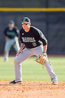 Coastal Carolina Chanticleers second baseman Connor Owings (6) on defense against the High Point Panthers at Willard Stadium on March 15, 2014 in High Point, North Carolina.  The Chanticleers defeated the Panthers 1-0 in the first game of a double-header.  (Brian Westerholt/Four Seam Images)