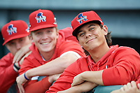 Auburn Doubledays Todd Peterson (right) with Jack Dunn (center) and Tyler Dyson (left) during a NY-Penn League game against the Mahoning Valley Scrappers on August 27, 2019 at Falcon Park in Auburn, New York.  Auburn defeated Mahoning Valley 3-2 in ten innings.  (Mike Janes/Four Seam Images)
