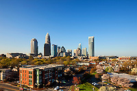 A clear blue sky extends of the skyline of downtown Charlotte, NC, in early 2010.