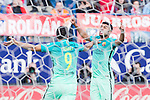 Rafinha Alcantara and Luis Suarez of Futbol Club Barcelona celebrates after scoring a goal  during the match of Spanish La Liga between Atletico de Madrid and Futbol Club Barcelona at Vicente Calderon Stadium in Madrid, Spain. February 26, 2017. (ALTERPHOTOS)