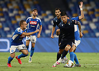 1st August 2020; Stadio San Paolo, Naples, Campania, Italy; Serie A Football, Napoli versus Lazio; Joaquin Correa of SS Lazio turns away from the challenge of Stanislav Lobotka