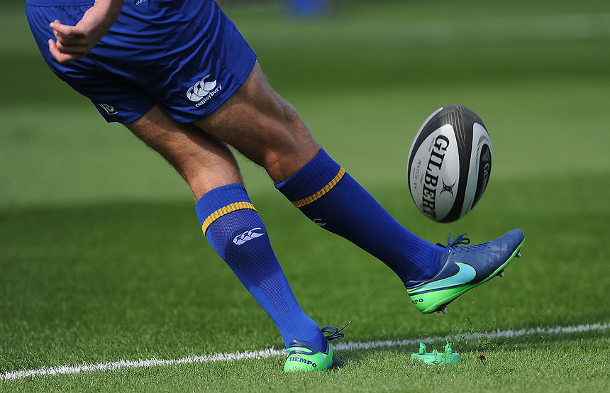 Leinster Guinnes Gilbert ball<br /> <br /> Photographer Ashley Crowden/CameraSport<br /> <br /> Guinness Pro14 Round 1 - Dragons v Leinster Rugby - Saturday 2nd September 2017 - Rodney Parade - Newport, Wales<br /> <br /> World Copyright &copy; 2017 CameraSport. All rights reserved. 43 Linden Ave. Countesthorpe. Leicester. England. LE8 5PG - Tel: +44 (0) 116 277 4147 - admin@camerasport.com - www.camerasport.com
