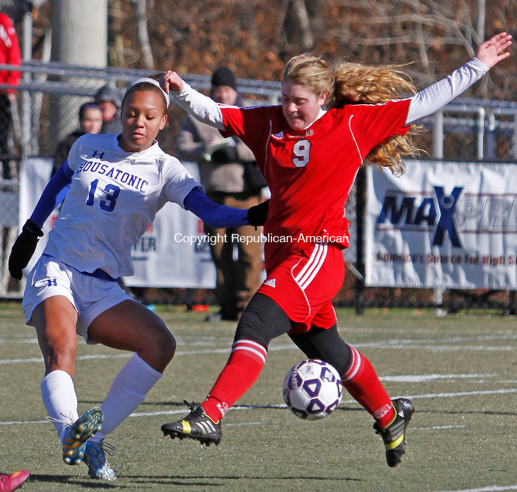 WATERBURY, CT-11 November 111514MK10 Housatonic's Lauren Segalla scores a  goal against Portland's Alina Pantano during Class S soccer finals at Municipal Stadium on Saturday afternoon.  Portland won in overtime 2 -1. Michael Kabelka / Republican-American