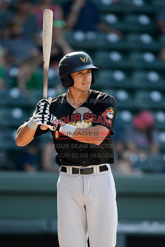 Second baseman Nick Rodriguez (7) of the West Virginia Power bats in a game against the Greenville Drive on Sunday, May 19, 2019, at Fluor Field at the West End in Greenville, South Carolina. Greenville won, 8-4. (Tom Priddy/Four Seam Images)