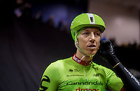 Sep Vanmarcke (BEL/Cannondale-Drapac) debuting in Flanders in his new colors at the 72nd Omloop Het Nieuwsblad 2017 pre-start team presentation which is given in the legendary Kuipke Velodrome which is pretty packed for this morning event
