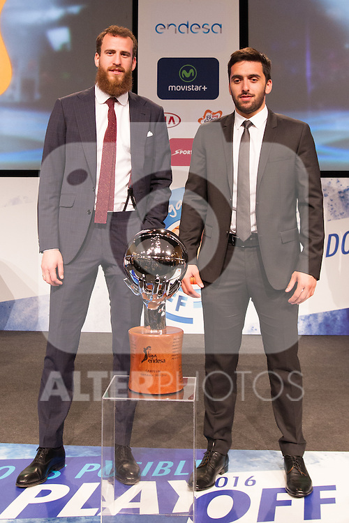 Sergio Rodriguez and Facun Campacho during presentation of the Liga Endesa playoff. May 23,2016. (ALTERPHOTOS/Rodrigo Jimenez)