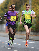 26/10/2015; 2015 SSE Airtricity Dublin Marathon, St Laurence's Road, Dublin. <br /> Eventual winner Alemu Gemechu of Ethiopia and Stepan Kiselev of Russia<br /> Picture credit: Tommy Grealy/actionshots.ie.