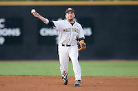 Shortstop Pat Blair #6 of the Wake Forest Demon Deacons makes a throw to first base against the Duke Blue Devils at the Wake Forest Baseball Park April 23, 2010, in Winston-Salem, NC.  Photo by Brian Westerholt / Sports On Film
