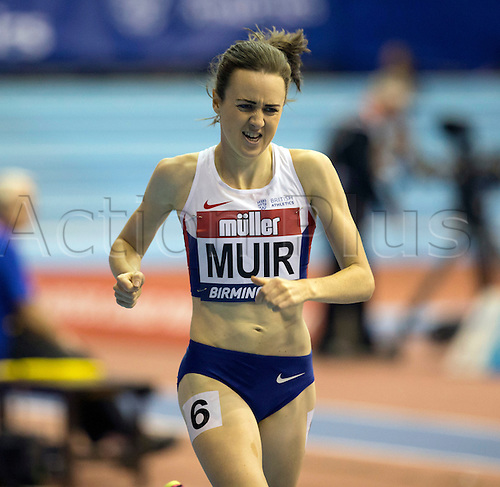February 18th 2017,  Birmingham, Midlands, England; IAAF The Müller Indoor Grand Prix Athletics meeting; Laura Muir (GBR) competing in the final of the Women's 1000 Metres