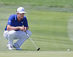Jonas Blixt lines up a putt on the1st hole during the Barracuda Golf Championship at the Montrêux Golf & Country Club on Sunday, August 9, 2015.