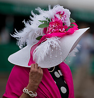 LOUISVILLE, KY - MAY 05: A woman wears a fancy hat on Kentucky Oaks Day at Churchill Downs on May 5, 2017 in Louisville, Kentucky. (Photo by Scott Serio/Eclipse Sportswire/Getty Images)
