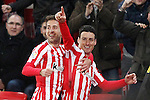 Athletic de Bilbao's Enric Saborit (l) and Aritz Aduriz celebrate goal during Spanish Kings Cup match. January 05,2017. (ALTERPHOTOS/Acero)