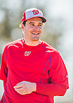 25 February 2016: Washington Nationals infielder Daniel Murphy awaits his turn in the batting cage during the first full squad Spring Training workout at Space Coast Stadium in Viera, Florida. Mandatory Credit: Ed Wolfstein Photo *** RAW (NEF) Image File Available ***