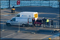 BNPS.co.uk (01202 558833)<br /> Pic: Graham Hunt/BNPS<br /> <br /> A body is brought off the Geo Ocean III in Portland port, Dorset today.<br /> <br /> The survey vessel Geo III in Portland Port in Dorset to land a body from the Emiliano Sala plane wreck.  <br /> <br /> Activity on the dock with police, investigators and crew boarding the ship.
