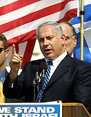 Washington, DC - April 15, 2002 -- Former Prime Minister Benjamin Netanyahu of Israel speaks at the National Solidarity Rally with Israel at the United States Capitol on Monday, April 15, 2002..Credit: Arnie Sachs / CNP