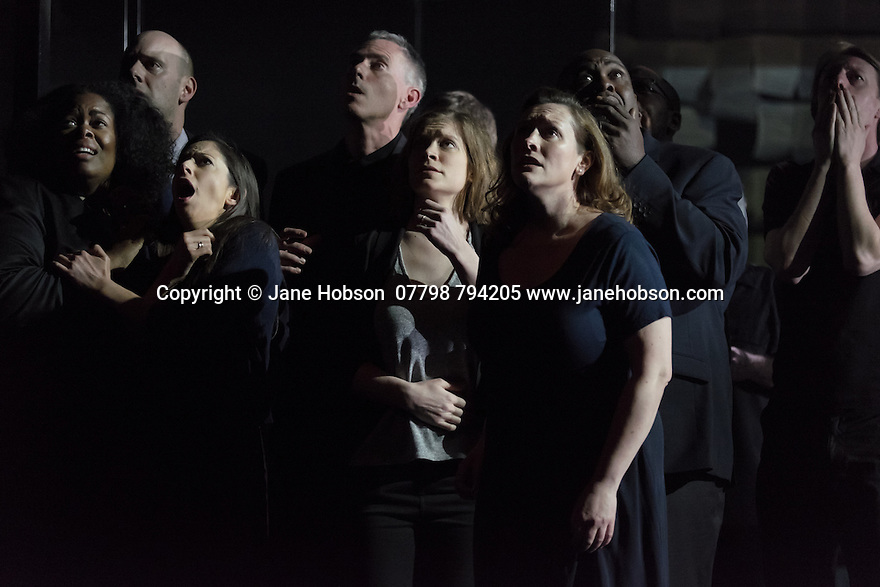 EMBARGOED UNTIL 7:30pm 11.04.15. London, UK. 09.04.2015. English National Opera presents the world premiere of Tansy Davies' BETWEEN WORLDS, at the Barbican. Photograph © Jane Hobson.