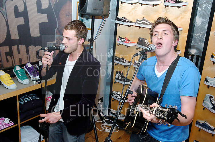 Sons of Jim <br /> In Store appearance at Vans, Carnaby Street, London, Great Britain<br /> May 29, 2006 <br /> <br /> EXCLUSIVE COVERAGE<br /> <br /> l to r<br /> <br /> Jamie Dornan &amp; David Alexander of Sons of Jim   Jamie Dornan in the band <br /> Sons of Jim <br />In-Store appearance at Vans, Carnaby Street, London, Great Britain<br />May 29, 2006 <br /><br />Jamie Dornan &amp; David Alexander of Sons of Jim <br /> <br /> Jamie Dornan stars in 50 Shades of Grey that comes out in the UK 13th February 2015. <br /> <br /> Photograph by Elliott Franks