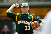 Baylor Bears pitcher Tyler Bremer #33 attempts a pickoff during the NCAA Regional baseball game against Oral Roberts University on June 3, 2012 at Baylor Ball Park in Waco, Texas. Baylor defeated Oral Roberts 5-2. (Andrew Woolley/Four Seam Images)