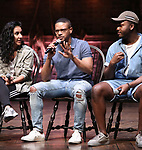 "Gabriella Sorrentino, Tré Smith, Deon'te Goodman during the Q & A before The Rockefeller Foundation and The Gilder Lehrman Institute of American History sponsored High School student #eduHAM matinee performance of ""Hamilton"" at the Richard Rodgers Theatre on June 5, 2019 in New York City."