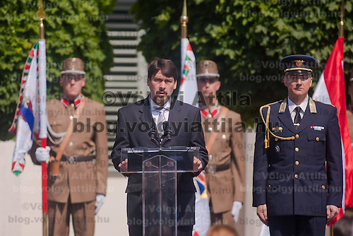 Janos Ader newly elected president of Hungary delivers his speech during his official inauguration ceremony in Budapest, Hungary on May 10, 2012. ATTILA VOLGYI