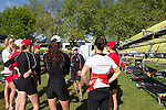 Rowing, Canada, John Keogh, Senior National Team coach with the Canadian Women's Eight, 8+, From bow: Emma Darling, Cristy Nurse, Janine Hanson, Rachelle De Jong, Krista Guloien, Ashley Brzozowicz, Darcy Marquardt, Adreanne Morin, Lesley Thompson-Willie, meeting prior to workout, Thursday, November 4, 2010, 2010 FISA World Rowing Championships, Lake Karapiro, Hamilton, New Zealand,
