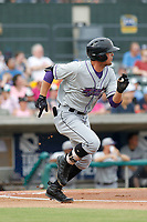 Winston-Salem Dash outfielder Blake Rutherford (9) at bat during a game against the Myrtle Beach Pelicans at Ticketreturn.com Field at Pelicans Ballpark on July 22, 2018 in Myrtle Beach, South Carolina. Winston-Salem defeated Myrtle Beach 7-2. (Robert Gurganus/Four Seam Images)