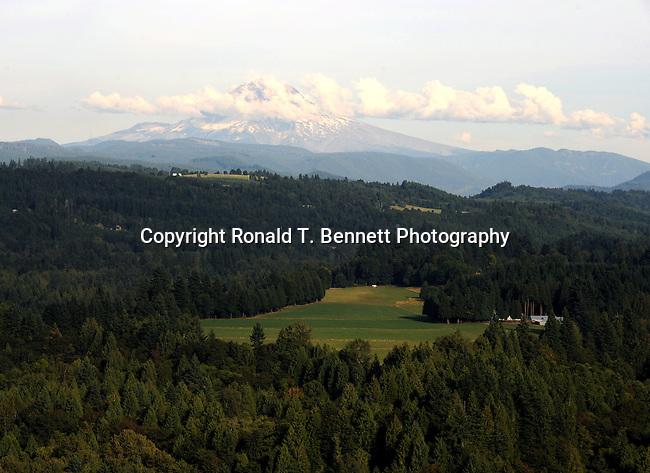 Mount Hood in rolling hills of Oregon,