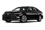 Stock pictures of low aggressive front three quarter view of a 2019 Toyota Avalon XLE Hybrid 4 Door Sedan