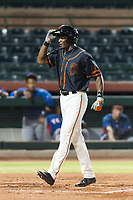 AZL Giants Black left fielder Kwan Adkins (8) crosses home plate after hitting a home run during an Arizona League game against the AZL Rangers at Scottsdale Stadium on August 4, 2018 in Scottsdale, Arizona. The AZL Giants Black defeated the AZL Rangers by a score of 6-3 in the second game of a doubleheader. (Zachary Lucy/Four Seam Images)