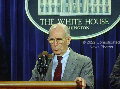 Washington, DC - (FILE) -- United States Army General John Vessey, former chairman of the Joint Chiefs of Staff, and Special Emissary to Vietnam for P.O.W./M.I.A. Affairs meets reporters in the White House Press Briefing Room after he, United States President George H.W. Bush, and United States Senators John F. Kerry (Democrat of Massachusetts) and John McCain (Republican of Arizona) announced the Government of Vietnam had agreed to make available all information including photographs, artifacts, and military documents on United States prisoners of war (POWs) and those missing in action (MIAs) in the Rose Garden of the White House on Friday, October 23, 1992. .Credit: Ron Sachs / CNP