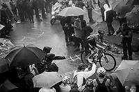Jai Hindley (AUS/Sunweb) up the extremely wet, cold & misty Cole di Mortirolo <br /> <br /> Stage 16: Lovere to Ponte di Legno (194km)<br /> 102nd Giro d'Italia 2019<br /> <br /> ©kramon