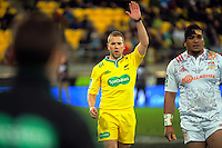 Referee Angus Gardner in action during the Super Rugby semifinal match between the Hurricanes and Chiefs at Westpac Stadium, Wellington, New Zealand on Saturday, 30 July 2016. Photo: Dave Lintott / lintottphoto.co.nz