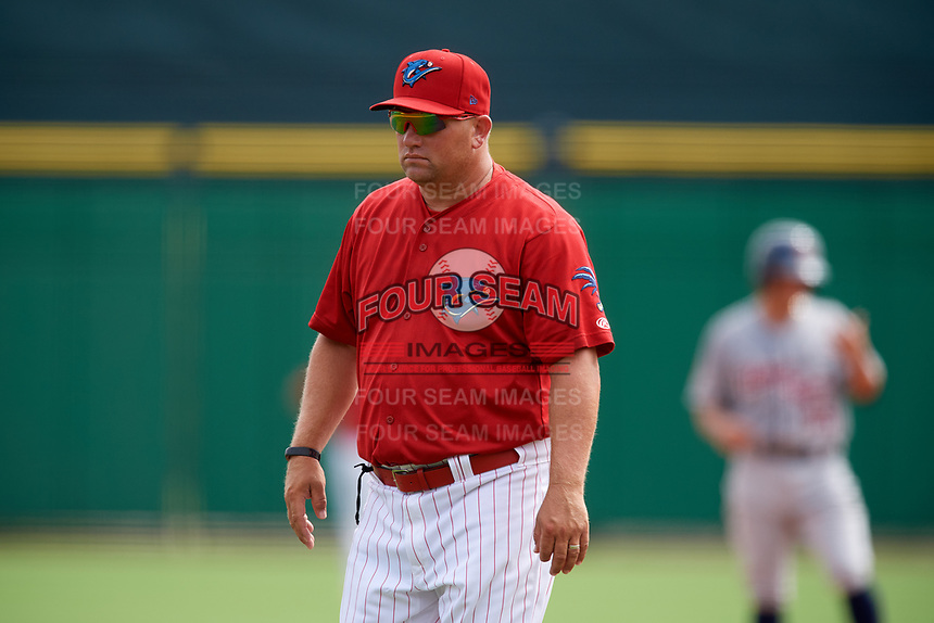 Clearwater Threshers pitching coach Aaron Fultz during the first game of a doubleheader against the Lakeland Flying Tigers on June 14, 2017 at Spectrum Field in Clearwater, Florida.  Lakeland defeated Clearwater 5-1.  (Mike Janes/Four Seam Images)