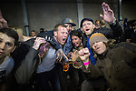 © Joel Goodman - 07973 332324 . 12/04/2015 . Manchester , UK . People at the gig . Black Grape perform a reunion gig in support of Bez's Reality Party at the Old Granada Studios Warehouse . Photo credit : Joel Goodman
