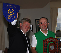 John Teen (Tralee Club Captain) and Paul Hughes (Team Captain) with the Munster Pennant and Trophy after Tralee win the Munster Final of the AIG Barton Shield at Tralee Golf Club, Tralee, Co Kerry. 12/08/2017<br /> Picture: Golffile | Thos Caffrey<br /> <br /> <br /> All photo usage must carry mandatory copyright credit     (&copy; Golffile | Thos Caffrey)