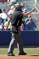 Home plate umpire Tim Welke makes a call in a spring training game between the Tampa Bay Rays and Baltimore Orioles at the Charlotte County Sports Park on March 5, 2012 in Port Charlotte, Florida.  (Mike Janes/Four Seam Images)