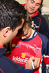 NELSON, NEW ZEALAND - July 26: James Lowe signs a fan's shirt during the Tasman Makos Family Fun Day at TRU Players Room, Trafalgar Park July 26, 2015 in Nelson, New Zealand. (Photo by Marc Palmano/Shuttersport Limited)
