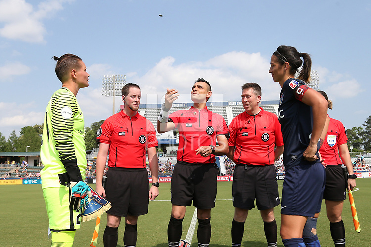 Cary, North Carolina  - Saturday April 29, 2017: Farhad Dadkho, Ashlyn Harris, and Abby Erceg during the coin toss prior to regular season National Women's Soccer League (NWSL) match between the North Carolina Courage and the Orlando Pride at Sahlen's Stadium at WakeMed Soccer Park.