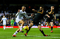 Leeds United's Kemar Roofe is tackled by Hull City's Kevin Stewart<br /> <br /> Photographer Alex Dodd/CameraSport<br /> <br /> The EFL Sky Bet Championship - Leeds United v Hull City - Saturday 29th December 2018 - Elland Road - Leeds<br /> <br /> World Copyright © 2018 CameraSport. All rights reserved. 43 Linden Ave. Countesthorpe. Leicester. England. LE8 5PG - Tel: +44 (0) 116 277 4147 - admin@camerasport.com - www.camerasport.com